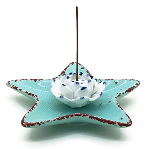 King Incense Burner (Incense Stick Holder - Starfish Shape Flower Porcelain Incense Burner Bowel - Decorative Ceramic Incense Ash Catcher Plate)
