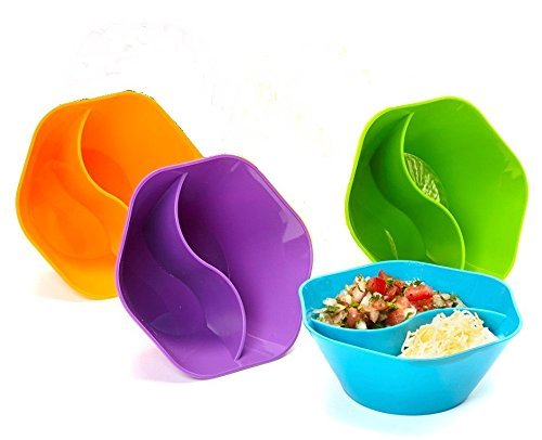 Set of 4 Colorful Double Dipper Bowls. Individual-size Bowls for Dipping Sauces