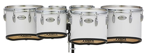 Pearl Championship Maple Marching Tenor Drums Sextet Sonic Cut 6, 8, 10, 12, 13, 14 in. Pure White #33 (Quad Marching Drums)
