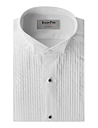 """Tuxedo Shirt- Boys White Wing Collar 1/4"""" Pleat (BL (Ages 14-16))"""