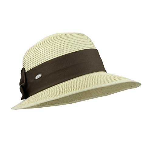 Straw Packable Sun Hat with Creamy Natural Beige / Brown ()