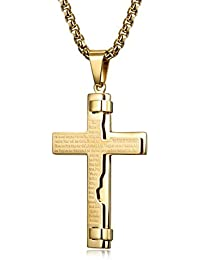 Gold Tone Cross Necklace for Men Boys Prayer Stainless Steel Pendant Necklace, 24-30 inch