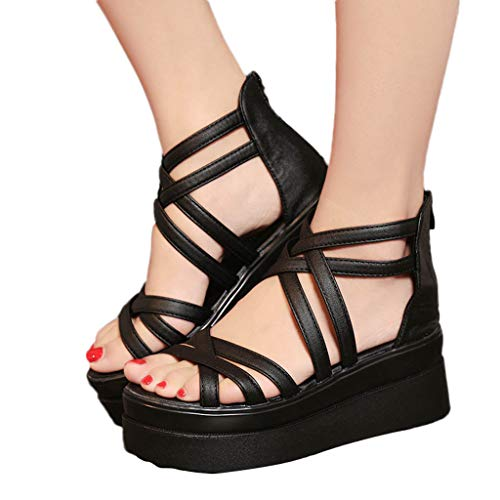 (Women Thick Bottom Sandals Clearance Sale, NDGDA Sexy Round Toe Shoes Cross Strap Non-Slip Sandals)