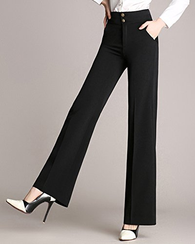 Zampa Pantaloni Nero Alta Fit A Slim Donna Lunghi Pantaloni Pantaloni Vita qdx4Z8q