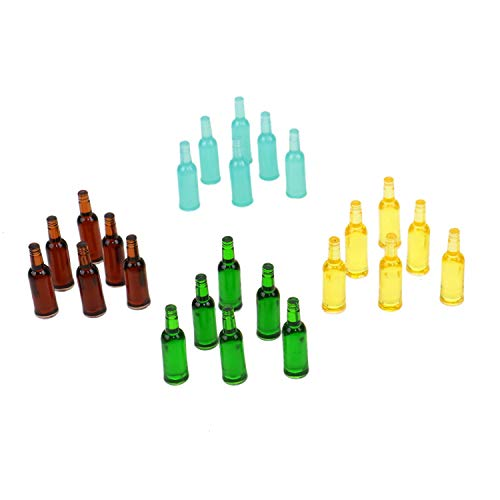 JETEHO 24pcs 4 Styles Timeless Miniature Beer Bottles for 1:12 Dollhouse Kitchen Food Accessories(1-3/8