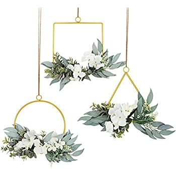 LSME Set of 3 Floral Hoop Wreath,Artificial Hydrangea Flower and Willow Leaves Metal Hoop Garland for Wall Hanging Pendant Wedding Backdrop Ceremony Home Decor White