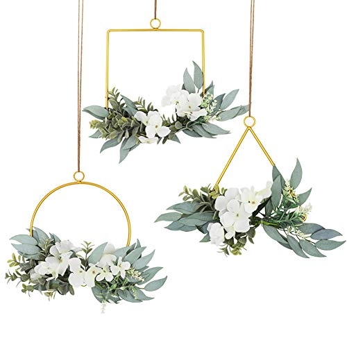 LSME Set of 3 Floral Wreath,Hydrangea Flower and Willow Leaves Metal Wall Hanging