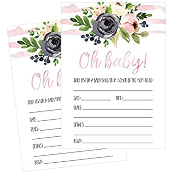 50 Fill In Floral Baby Shower Invitations Watercolor Pink Neutral Flower Blank Invites For Girl Invitation