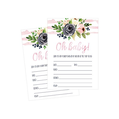 50 Fill in Floral Baby Shower Invitations, Baby Shower Invitations Watercolor, Pink, Neutral, Flower, Blank Baby Shower Invites for girl, Baby Invitation Cards Printable
