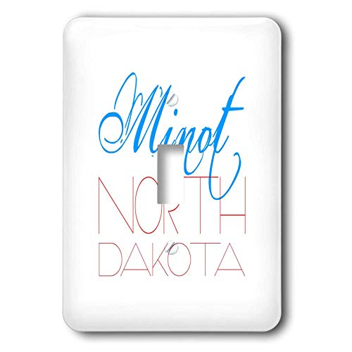 3dRose Alexis Design - American Cities - Elegant impressive text Minot North Dakota of blue, red colors - Light Switch Covers - single toggle switch (lsp_292351_1)