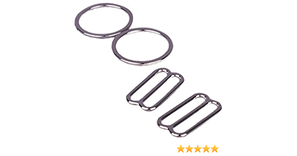13mm 1//2 Opening - 2 Rings - 2 Slides Porcelynne White Nylon Coated Metal Replacement Bra Strap Slide and Ring Set