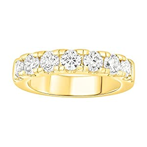 1 1/2 Carat (ctw) 14K Gold White Diamond Ladies Anniversary Wedding Stackable Band 7-Stone Ring (yellow-gold, 6)