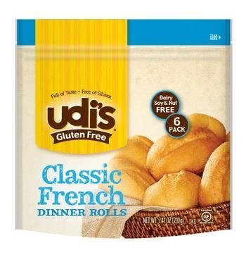 Udi's Gluten-free Classic French Dinner Rolls, 1 Packs Has 6 Rolls (French Bread Roll)