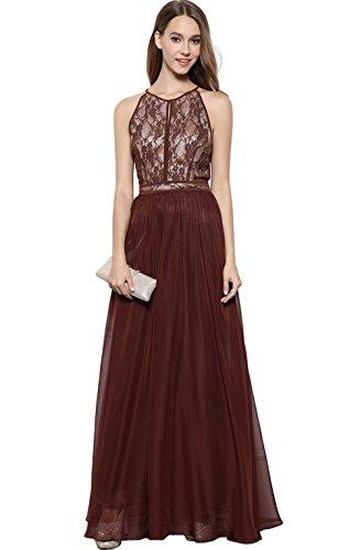 [Merope J Womens Straps Lace Chiffon Sleeveless Gowns Evening Maxi Dress(4,Wine)] (Wine Inspired Halloween Costumes)