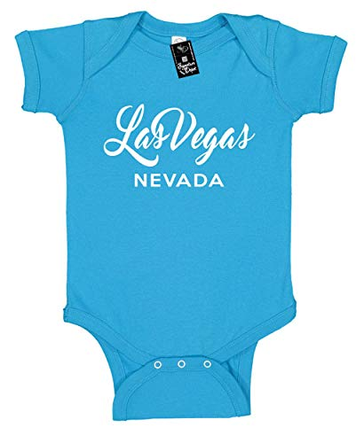 Infant Funny Baby Onesie Unisex T-Shirt Size 24 (Las Vegas Nevada (City State) Turquoise