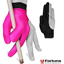Billiard Pool Cue GLOVE by Fortuna - Classic Two-colored - For left hand - Pink/Black