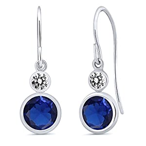 1.70 Ct Round Blue Simulated Sapphire White Diamond 14K White Gold Earrings