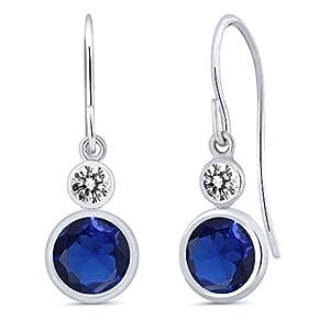 1.70 Ct Round Blue Simulated Sapphire White Diamond 14K White Gold Earrings