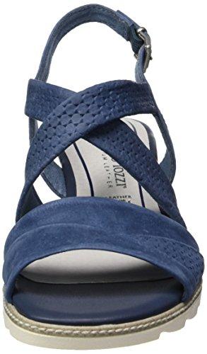 Marco Tozzi Premio 28718, Sandalias con Cuña para Mujer Azul (Navy Antic 892)