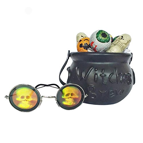 Trick or Treat Bucket with Halloween Chocolates and Holographic Glasses]()