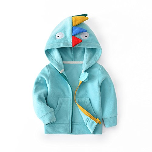 HUAER& Baby Boys' Woolen Dinosaur Zip Front Jacket Hoodie Sweatshirt (4T(110CM), Light (Light Blue Infant Sweatshirt)