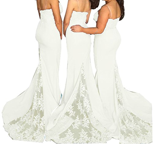 Straps Wedding Dresses Bridesmaid Fanciest Gowns Spaghetti Women's Ivory 2016 Party Lace qpBcpEA1W0