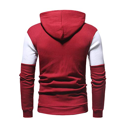 Patchwork Pile Uomo Rosso Bhydry Cappuccio Cime Inverno Outwear Felpa Con Autum Manica Cappotto In Lunga 8pwUwHYq