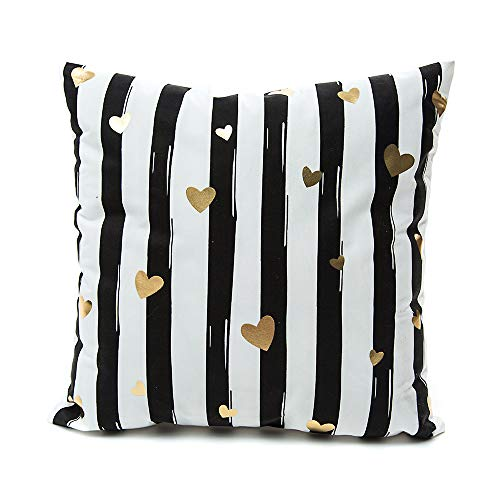 Gold Striped Pillowcase (Monkeysell Decorative Pillow Cover Black and White Striped Love Heart Gold Lips Throw Pillow Cover Square Cushion Cover Pillowcase)