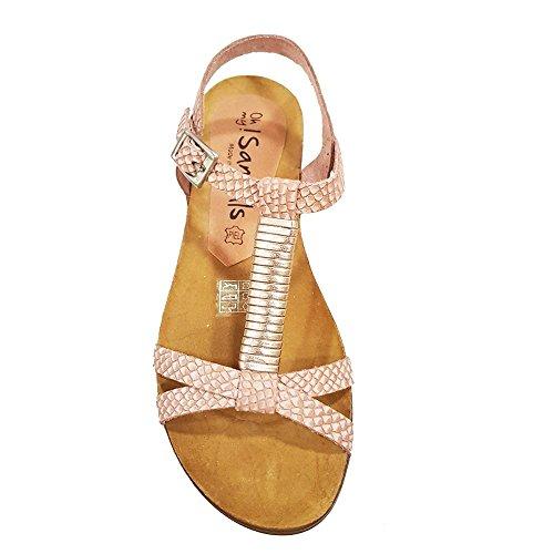 Sandalia piel nude grabada tiras cruzada. Talla 40