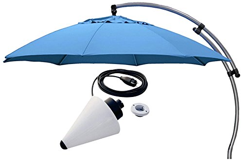 Sun Garden Ampelschirm Easy Plus Durchmesser 375 cm, Bezug 100% Polypropylen hellblau, Aluminiumgestell silber