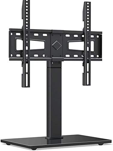 MOUNTUP Universal TV Stand, Table Top TV Stands for 37 to 70 Inch Flat Screen TVs - Height Adjustable, Tilt, Swivel TV Mount with Tempered Glass Base Holds as much as 88 lbs, Max VESA 600x400mm MU0031