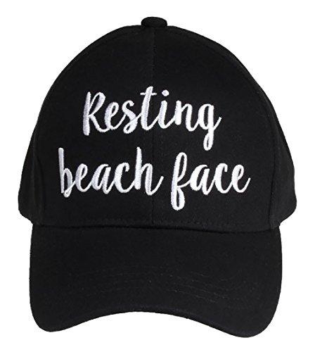 H-2018-RBF-06 Saying Baseball Cap - Resting Beach Face (Black) Beach Cap