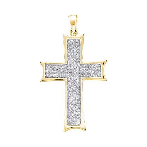 Dazzlingrock Collection 10kt Yellow Gold Mens Round Diamond Flared Roman Cross Charm Pendant 1/2 Cttw