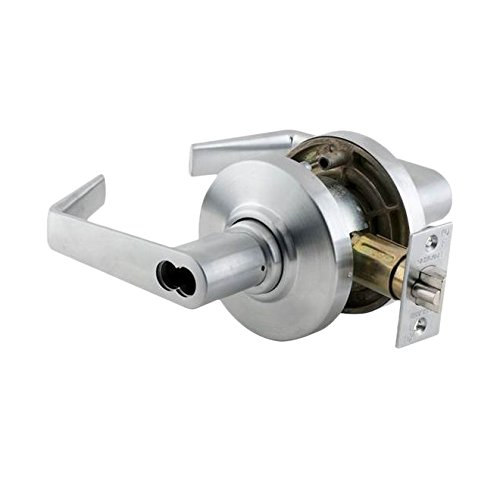 Schlage commercial AL50BDSAT626 AL Series Grade 2 Cylindrical Lock, Entry/Office Function Push Button Locking, Saturn Lever Design, Satin Chrome Finish by Schlage Lock Company