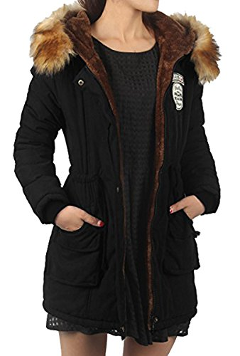 BLACKMYTH Invierno Mujer Cálido Capa Capucha Pelo Parka Jacket Outwear Negro