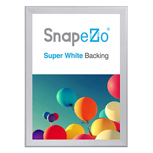 SnapeZo Poster Frame A0 Size (33.1 x 46.8 inches), Silver 1.7 Inch Aluminum Profile, Front-Loading Snap Frame, Wall Mounting, Wide Series