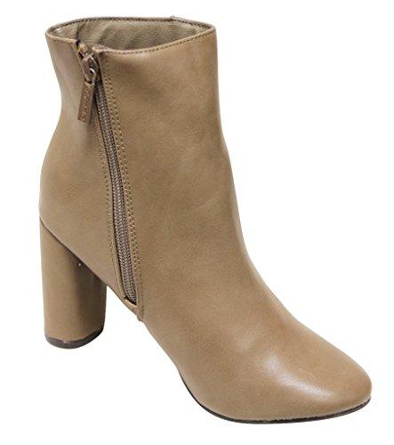 Breckelles Linda-21 Womens Almond Toe Chunky Heel Side Zipper Ankle Boots Beige