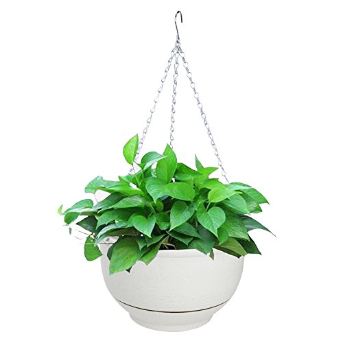 Vencer Metal Hanging Planter Imitation Ceramic Plastic Flowerpot 11.8 Inch Water Permeable Type,Round Shape,Ivory,VF-040