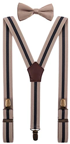 YJDS Kids Formal Suspenders Bowtie Adjustable Strong Clips Khaki Stripes 39''