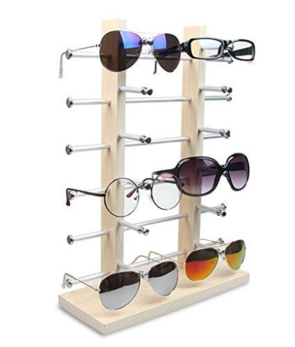 LFHT Wood Sunglasses Display Stand Tabletop Eyewear Storage Rack Glass Showcase (12 - Rack Wall Sunglasses