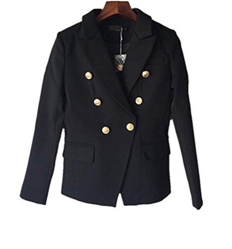 JIANGTAOLANG Blazer Women's Gold Buttons Double Breasted Blazer Size S-XXL Black ()