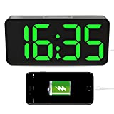 """usb auto backup - LED Digital Alarm Clock with USB, 9""""Large Display Clock with Dimmer for Bedrooms, Auto Time Set, 12/24 Hours, Backup Battery, Outlet Powered"""