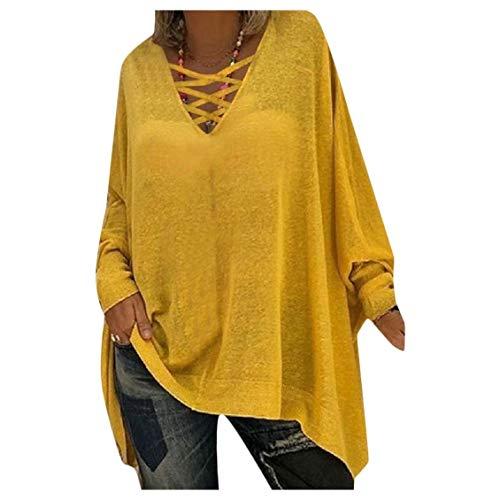 HEFASDM Mulheres pura Dolman Top solta V pescoço longo-manga túnica camisetas Yellow M