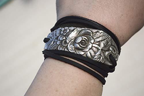 - Antique Kirk Stieff Floral Art Nouveau Sterling Silver 925 Leather Wrap Cuff Bracelet Rustic Repoussé Yoga Tie Wrap, Spoon Bracelet, Cowboy, Southwestern