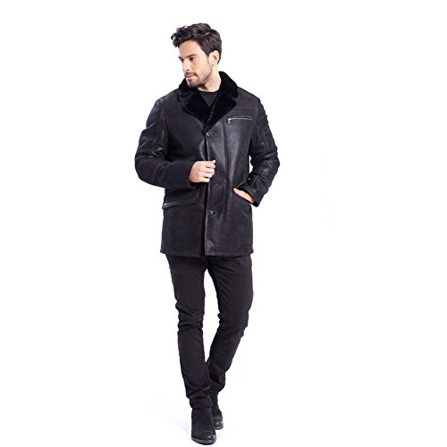 Mens Warm Exposed Shearling Notched Collar Winter Handsome Leather Jacket New Style Leather Shearling Jacket (Black, XS) (Coat Fur Notched Collar)
