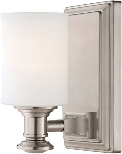Minka Lavery Wall Sconce Lighting 5171-84, Harbour Point Glass Damp Bath Vanity Fixture, 1 Light, Nickel