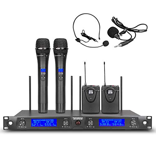 UHF 4 Channel Wireless Microphone System 2 Handheld Transmitter 2 Headset& Lavalier Lapel Mic 2 Bodypacks Whole Metal Pro Dynamic Micswith New FCC Frequency for Party Wedding Church Conference Speech