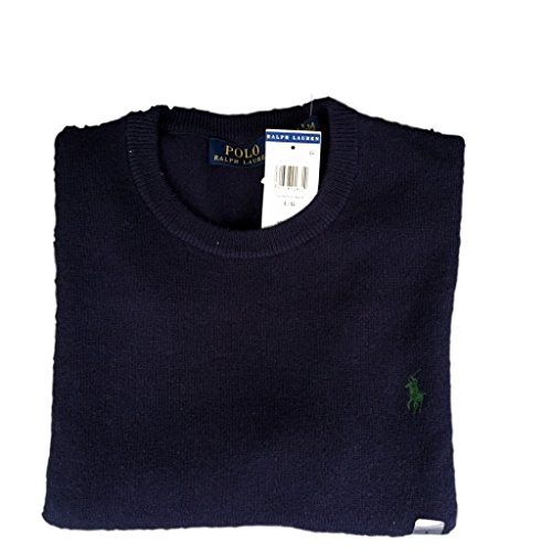 (Polo Ralph Lauren Italian Yarn Wool Crewneck Sweater-XL-HUNTERNV)