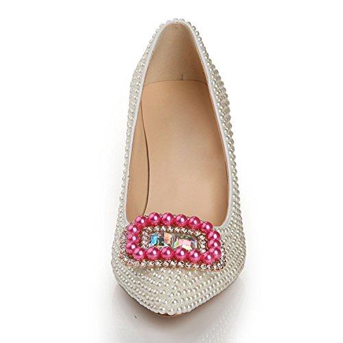 Moda yc Aguja Tacón White Estilete De Mujer 5 Zapatos Alto Cm 8 talón L dqx0SR6w6