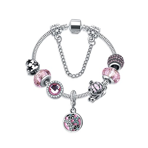 Yntmerry jewelry blue crystal snowflake bracelets glass ornaments spot spring and summer models,Pink ()